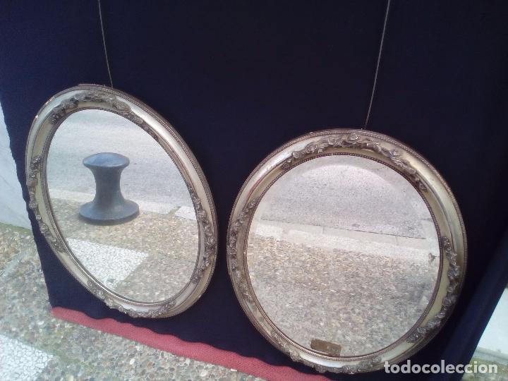 Antigüedades: DOS ANTIGUOS ESPEJOS CON MARCO DE MADERA PLATEADA - Foto 8 - 117398135