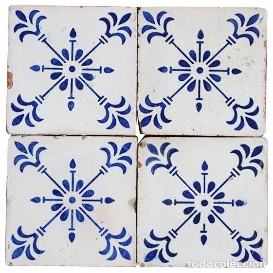 Conjunto De 4 Azulejos Originales Portugueses D Comprar Azulejos - Azulejos-originales