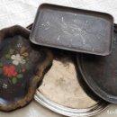 Antigüedades: CUATRO (4) ANTIGUAS BANDEJAS. Lote 117439195