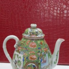 Antigüedades: TETERA DE PORCELANA CHINA, PINTADA A MANO. Lote 117447219