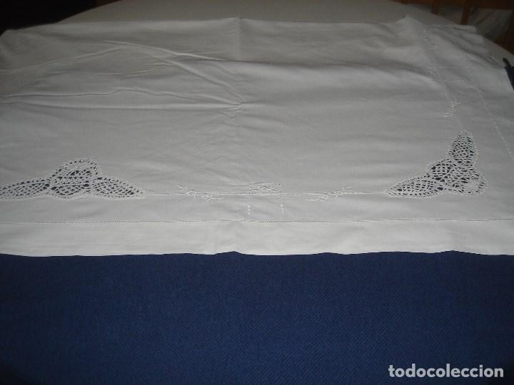 Antigüedades: juego de cama de hilo modernista con aplicacioes de encaje,para cama pequeña (1) - Foto 4 - 117447571