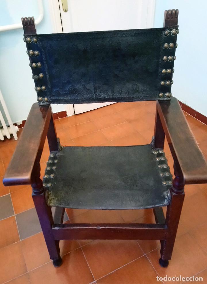 ANTIGUO SILLÓN CASTELLANO DE MADERA DE NOGAL. (Antigüedades - Muebles Antiguos - Sillones Antiguos)