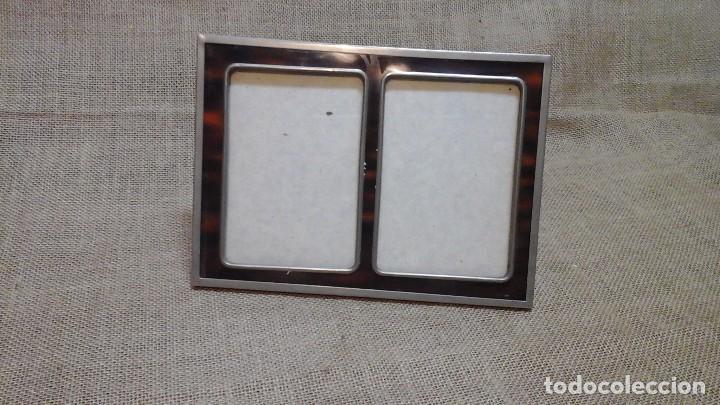 Antigüedades: Portafotos en metal plateado e imitación de carey . 1960 ó 1970 - Foto 4 - 117486415