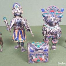 Antigüedades: GUERREROS INCAS Y LLAMAS CON BAÚL. PLATA 925/950. PIEDRAS DURAS. SIGLO XX. . Lote 117536443