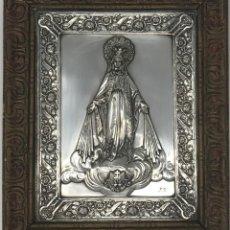Antigüedades: ANTIGUO CUADRO EN PLATA DE DE NUESTRA SEÑORA DE LA MEDALLA MILAGROSA- SXIX. Lote 117562363