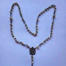 Antigüedades: ROSARIO DE PLATA Y NACAR CON FILIGRANAS.. Lote 117564775