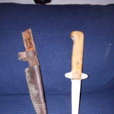 Antigüedades - Original cuchillo de caza años 40 con funda de piel - 117578350