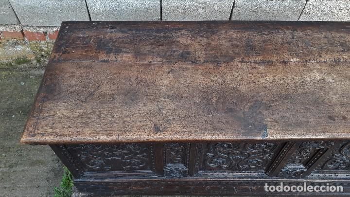 Antigüedades: Arcón antiguo macizo de nogal s.XVIII estilo barroco español baul antiguo arca antigua caja de novia - Foto 7 - 117587371