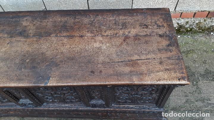 Antigüedades: Arcón antiguo macizo de nogal s.XVIII estilo barroco español baul antiguo arca antigua caja de novia - Foto 8 - 117587371