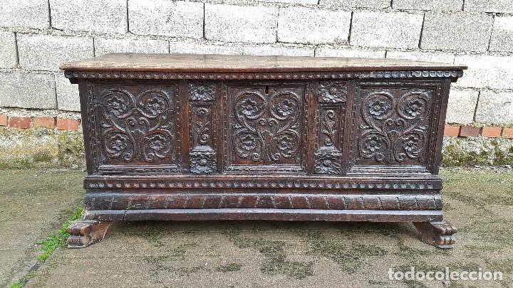 Antigüedades: Arcón antiguo macizo de nogal s.XVIII estilo barroco español baul antiguo arca antigua caja de novia - Foto 9 - 117587371