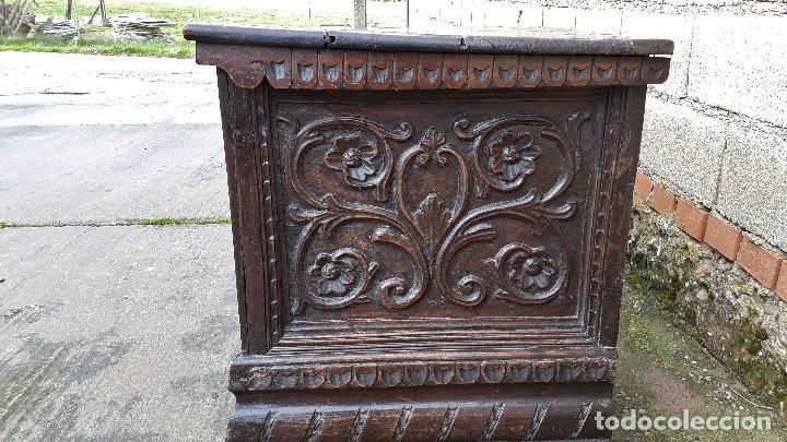 Antigüedades: Arcón antiguo macizo de nogal s.XVIII estilo barroco español baul antiguo arca antigua caja de novia - Foto 14 - 117587371
