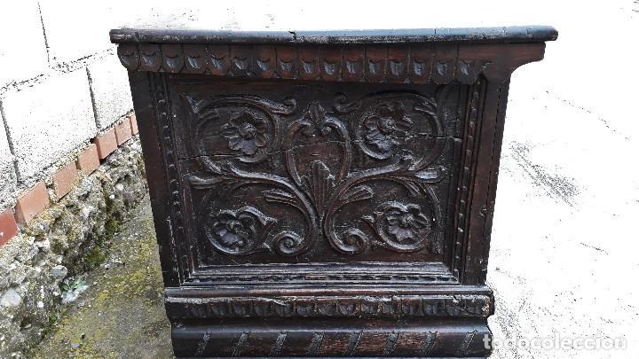 Antigüedades: Arcón antiguo macizo de nogal s.XVIII estilo barroco español baul antiguo arca antigua caja de novia - Foto 15 - 117587371