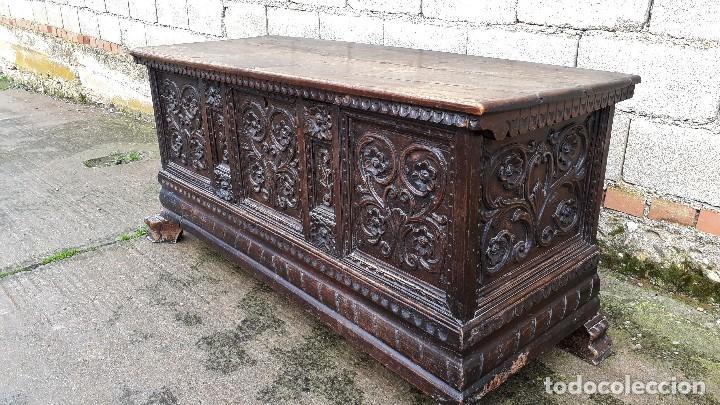 Antigüedades: Arcón antiguo macizo de nogal s.XVIII estilo barroco español baul antiguo arca antigua caja de novia - Foto 17 - 117587371