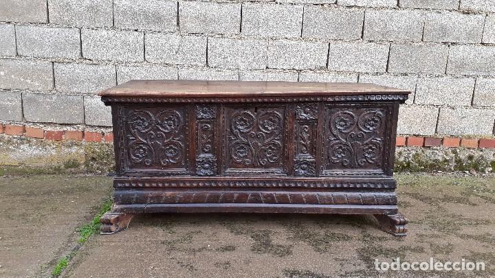 Antigüedades: Arcón antiguo macizo de nogal s.XVIII estilo barroco español baul antiguo arca antigua caja de novia - Foto 18 - 117587371