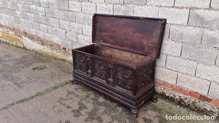 Antigüedades: Arcón antiguo macizo de nogal s.XVIII estilo barroco español baul antiguo arca antigua caja de novia - Foto 20 - 117587371