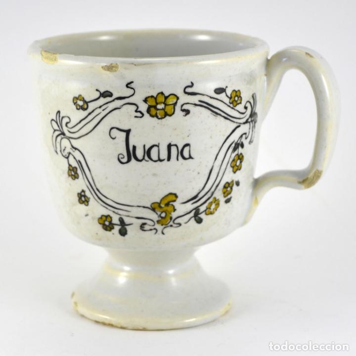 ANTIGUA JARRA TAZA TAZON / ALCORA / JUANA / 11CM ALTURA X 10CM DIAMETRO / BUEN ESTADO (Antigüedades - Porcelanas y Cerámicas - Alcora)