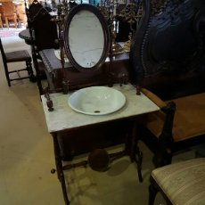 Antigüedades: PRECIOSO MUEBLE DE LAVABO CON ESPEJO TOCADOR. Lote 117685648