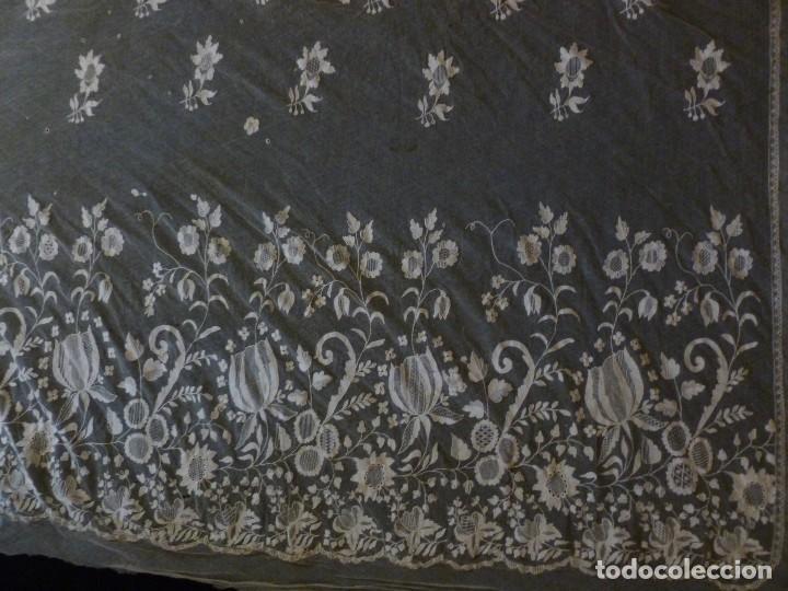 ANTIGUA PIEZA DE ENCAJE IMAGEN - NOVIA S.XIX (Antigüedades - Moda - Encajes)
