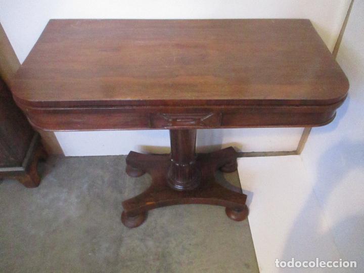 Antigüedades: Mesa de Juego - Consola - Estilo Regencia - Inglaterra - Madera de Palisandro - Principios S. XX - Foto 3 - 117741719