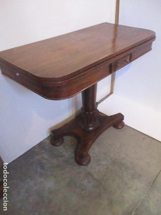 Antigüedades: Mesa de Juego - Consola - Estilo Regencia - Inglaterra - Madera de Palisandro - Principios S. XX - Foto 4 - 117741719