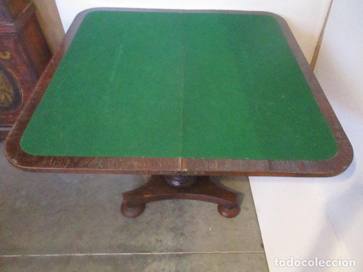 Antigüedades: Mesa de Juego - Consola - Estilo Regencia - Inglaterra - Madera de Palisandro - Principios S. XX - Foto 8 - 117741719