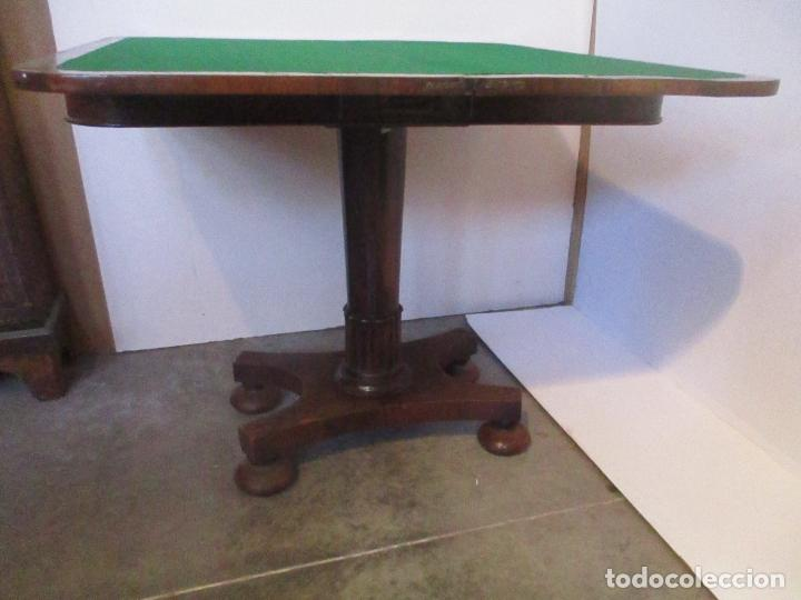 Antigüedades: Mesa de Juego - Consola - Estilo Regencia - Inglaterra - Madera de Palisandro - Principios S. XX - Foto 10 - 117741719