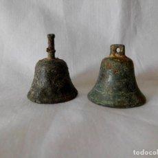 Antigüedades: LOTE DE 2 CAMPANAS DE BRONCE. Lote 117756623