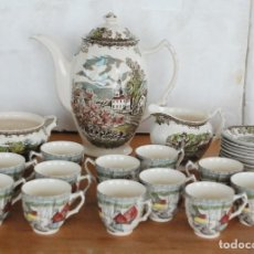 Antigüedades: JUEGO CAFE PORCELANA INGLESA JOHNSON BROS SERIE FRIENDLY VILLAGE. 12 TAZAS. Lote 117769187