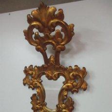 Antigüedades: ANTIGUA CORNUCOPIA - ESPEJO - ESTILO BARROCO - MADERA TALLADA Y DORADA, PAN DE ORO - S. XIX. Lote 142375474