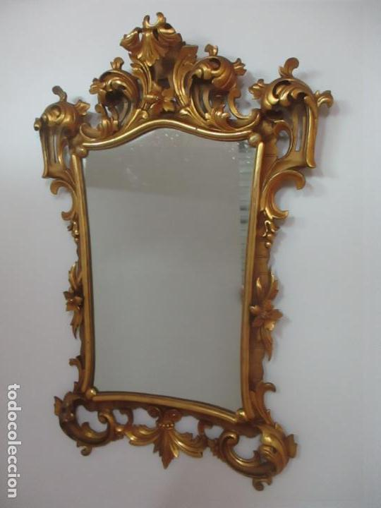 Antigüedades: Bonito Espejo - Cornucopia - Madera Tallada y Dorada con Pan de Oro - 73 cm x 106 cm - S. XIX - Foto 2 - 117794911