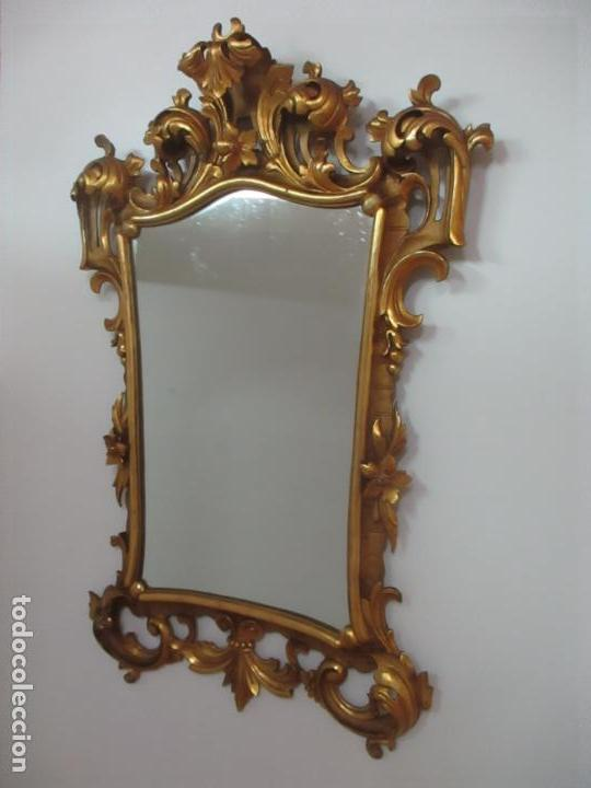 Antigüedades: Bonito Espejo - Cornucopia - Madera Tallada y Dorada con Pan de Oro - 73 cm x 106 cm - S. XIX - Foto 3 - 117794911
