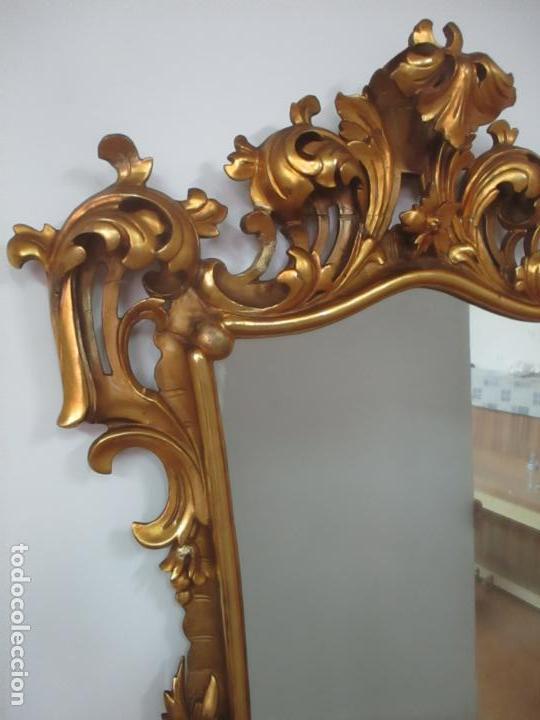 Antigüedades: Bonito Espejo - Cornucopia - Madera Tallada y Dorada con Pan de Oro - 73 cm x 106 cm - S. XIX - Foto 4 - 117794911
