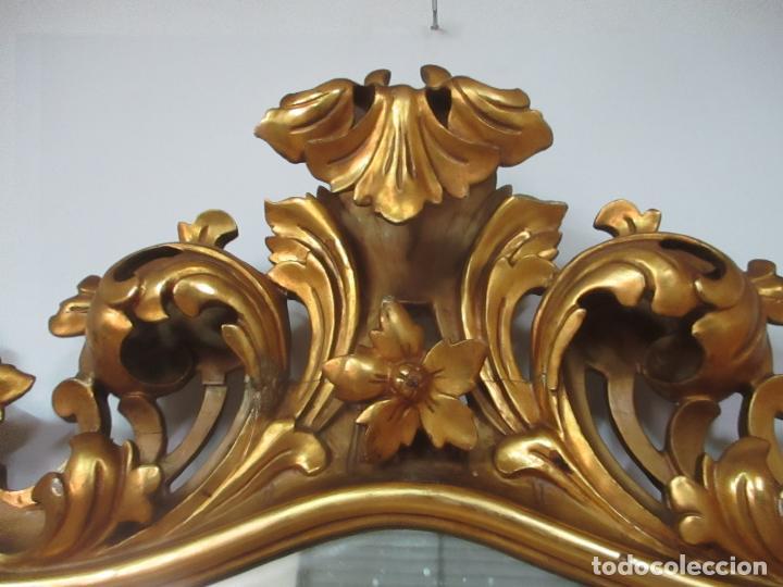 Antigüedades: Bonito Espejo - Cornucopia - Madera Tallada y Dorada con Pan de Oro - 73 cm x 106 cm - S. XIX - Foto 5 - 117794911