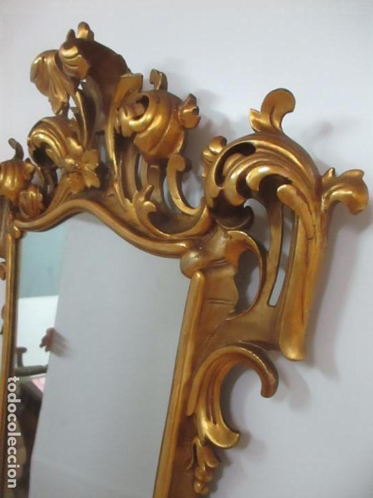 Antigüedades: Bonito Espejo - Cornucopia - Madera Tallada y Dorada con Pan de Oro - 73 cm x 106 cm - S. XIX - Foto 7 - 117794911