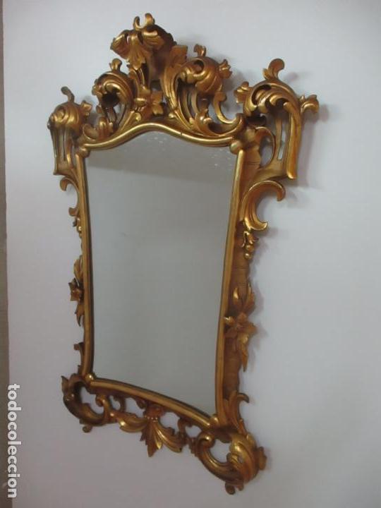 Antigüedades: Bonito Espejo - Cornucopia - Madera Tallada y Dorada con Pan de Oro - 73 cm x 106 cm - S. XIX - Foto 8 - 117794911