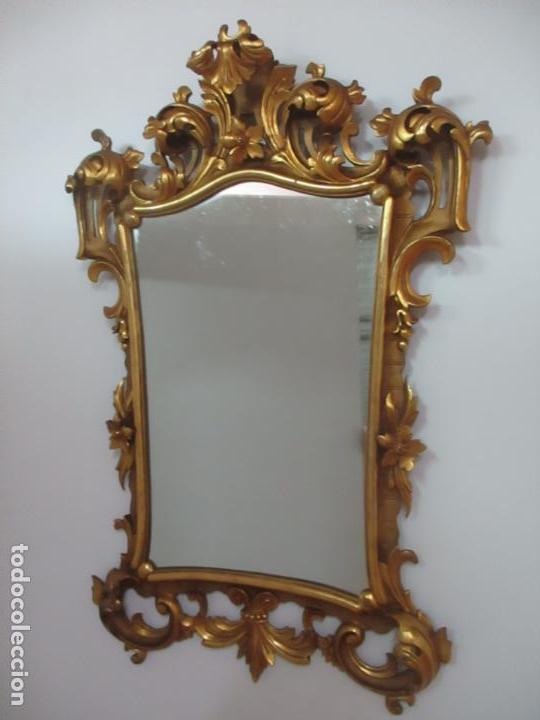 Antigüedades: Bonito Espejo - Cornucopia - Madera Tallada y Dorada con Pan de Oro - 73 cm x 106 cm - S. XIX - Foto 9 - 117794911