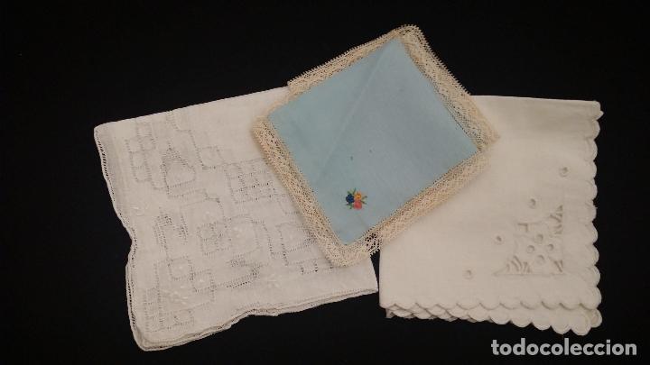 LOTE DE 3 PAÑUELOS (Antigüedades - Moda - Pañuelos Antiguos)