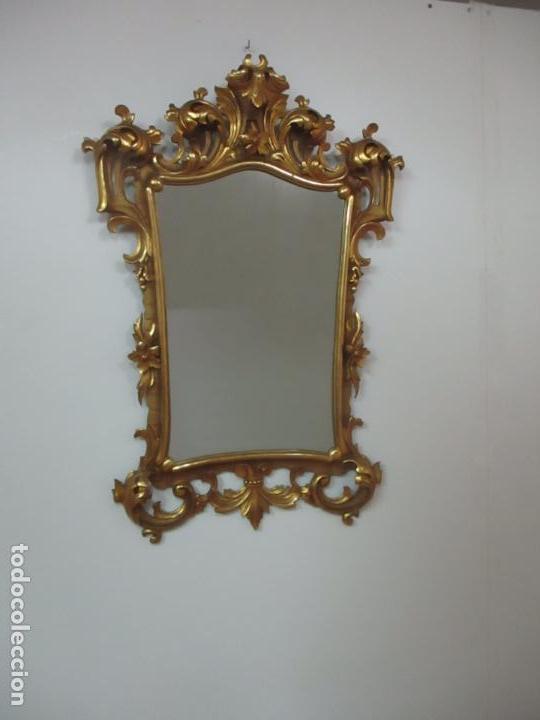 Antigüedades: Bonito Espejo - Cornucopia - Madera Tallada y Dorada con Pan de Oro - 73 cm x 106 cm - S. XIX - Foto 10 - 117794911