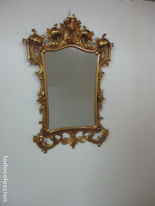 Antigüedades: Bonito Espejo - Cornucopia - Madera Tallada y Dorada con Pan de Oro - 73 cm x 106 cm - S. XIX - Foto 11 - 117794911