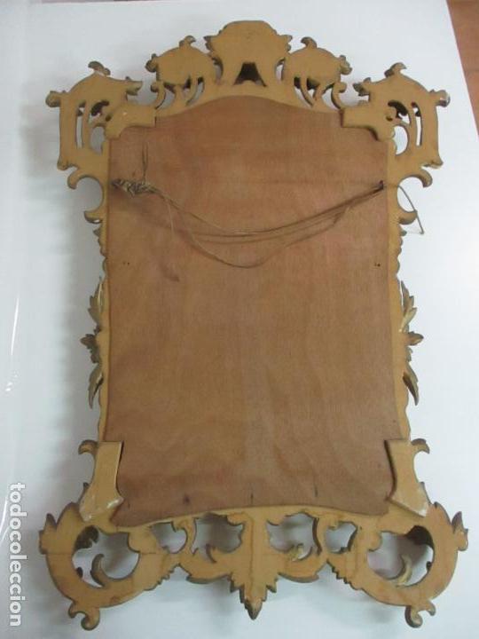Antigüedades: Bonito Espejo - Cornucopia - Madera Tallada y Dorada con Pan de Oro - 73 cm x 106 cm - S. XIX - Foto 19 - 117794911
