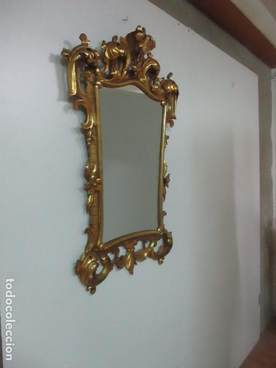 Antigüedades: Bonito Espejo - Cornucopia - Madera Tallada y Dorada con Pan de Oro - 73 cm x 106 cm - S. XIX - Foto 21 - 117794911