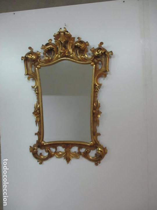 Antigüedades: Bonito Espejo - Cornucopia - Madera Tallada y Dorada con Pan de Oro - 73 cm x 106 cm - S. XIX - Foto 22 - 117794911