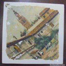 Antigüedades: MANUEL GARCIA DIAZ. SEVILLA. 1916. VISTA DE LA GIRALDA DESDE UN PATIO. 20 X 20CM. VER FOTOS. Lote 117819519