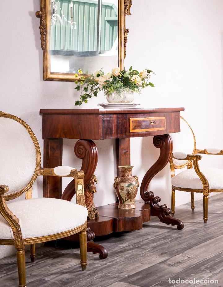 Antigüedades: Consola Antigua Estilo Isabelina - Foto 2 - 117822771