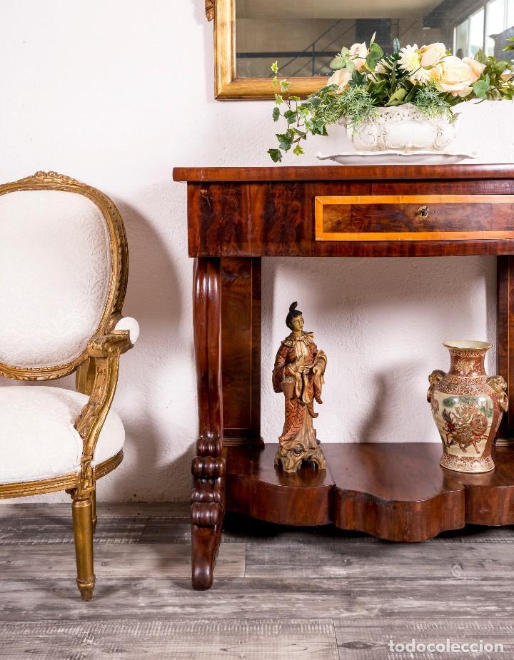Antigüedades: Consola Antigua Estilo Isabelina - Foto 4 - 117822771