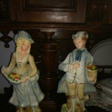 Antigüedades: PAREJA DE GRANDES FIGURAS EN ESCAYOLA. Lote 117824943