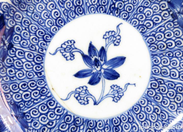 Antigüedades: Plato de cerámica esmaltada en azul y blanco China siglo XVIII - Foto 2 - 117830383