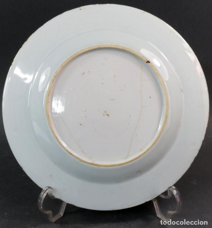 Antigüedades: Plato de cerámica esmaltada en azul y blanco China siglo XVIII - Foto 3 - 117830383