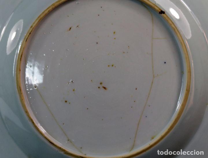 Antigüedades: Plato de cerámica esmaltada en azul y blanco China siglo XVIII - Foto 4 - 117830383