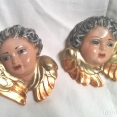 Antigüedades: PAREJA ANGELES ESTUCO POLICROMADO, TALLER OLOT, BUEN ESTADO. MED. 10 CM. Lote 117832315